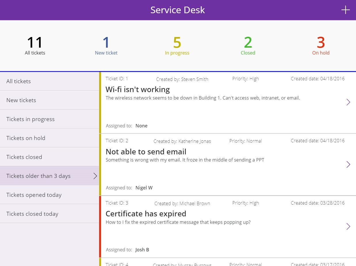 Powerapps service desk app